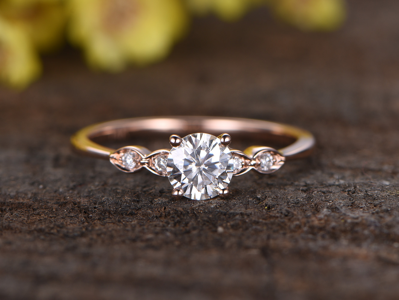 rose gold moissanite engagement ring in BBBGEM