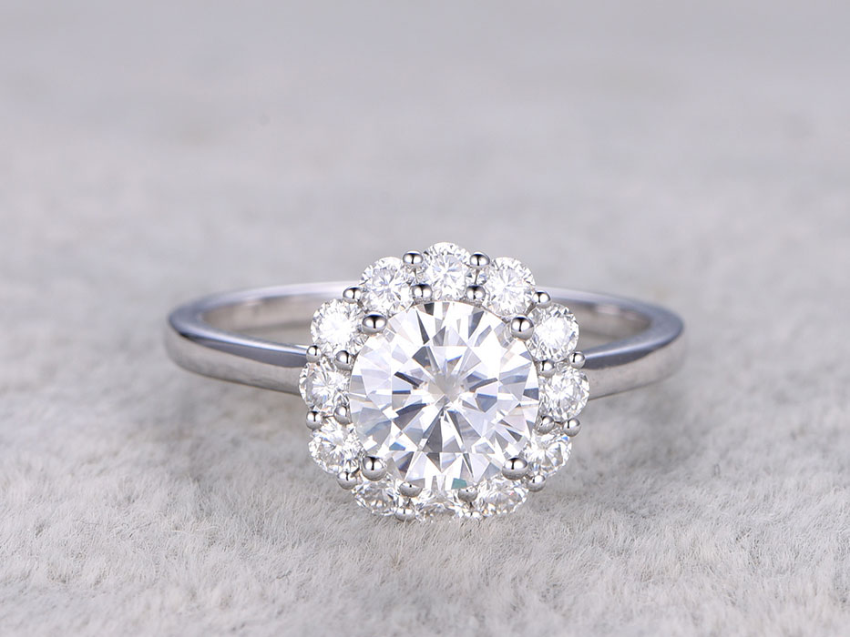 Halo Moissanite Engagement Ring
