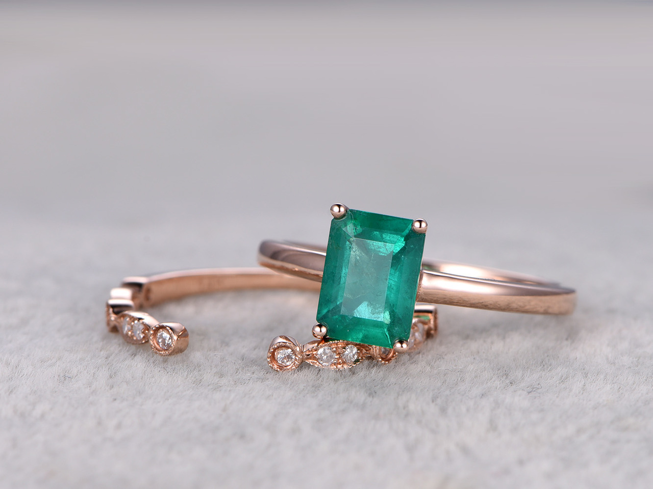 Natural Emerald Engagement Ring Set Diamond Matching Band Rose Gold Open Gap Art Deco Band