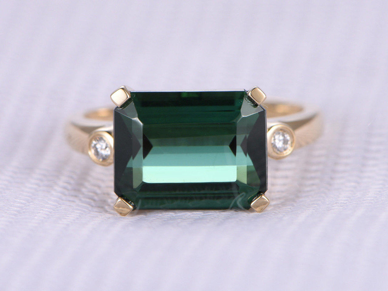 3.85ct Green Tourmaline Engagement ring,Emerald Cut stone,14k Rose gold,VS diamond Wedding Band,Bezel Set,Personalized for her/him,Custom